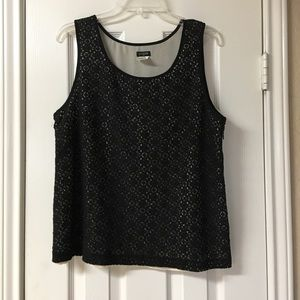 J. Crew Black Crochet Overlay Tank Top